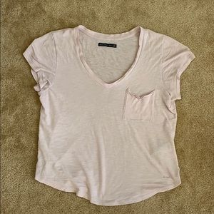 Abercrombie and Fitch Pink V Neck Cotton T-Shirt